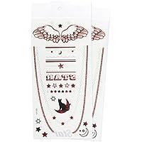 Zooky® Braccialetto e collana Luna Gatto Stella Ali Gioielli Tatuaggi temporanei impermeabili, adesivi metallici per corpo LH-006, set 2 pezzi, Rosso