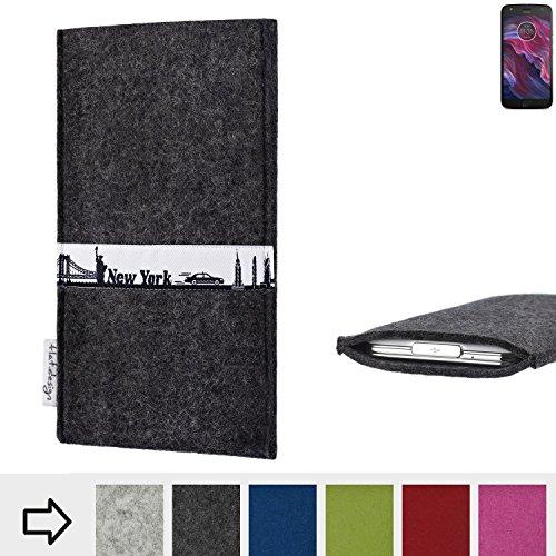flat.design für Motorola Moto X4 Schutzhülle Handy Tasche Skyline mit Webband New York - Maßanfertigung der Schutztasche Handy Hülle aus 100% Wollfilz (anthrazit) für Motorola Moto X4