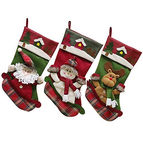 LHXHL Dekorative 3 StüCk Filz Weihnachtsmann Stiefel Weihnachten Socken GefüLlt Und HäNgend - Santa Claus/Schneemann / Elch Weihnachten Socken Dekorieren