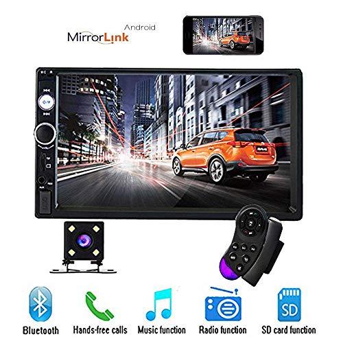 Camecho 2 DIN Car Estéreo Bluetooth 7 Pulgadas Pantalla táctil con AUX/USB/SD Puerto de Tarjeta Radio FM Teléfono Android Vínculo Espejo + Cámara de visión Trasera + Control Remoto en el Volante