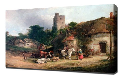 william-shayer-snr-the-plough-inn-art-reproduction-on-canvas-a-high-quality-canvas-art-print
