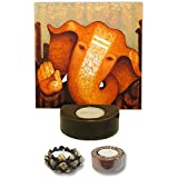 TYYC Home Decorative Candle Holders Diwali Gift Items Euphoric Lord Ganesha Candle Tea Light Holder Set Of 3