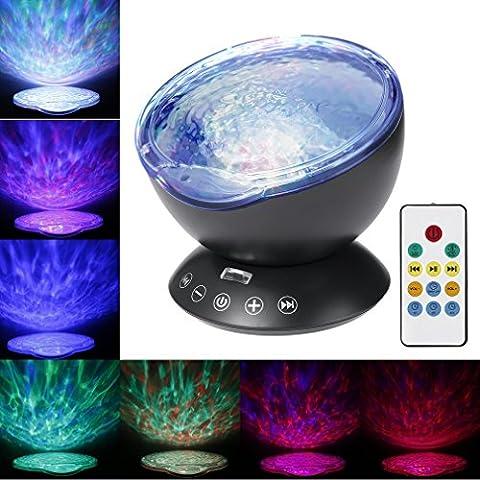 Lumière de Nuit Lampe de Projecteur, Footprintse Remote Control Ocean Wave Projector 4 Modes Sons et 7 couleurs Projection Rotative Contrôler par Télécommande pour chambre d'enfant bébé adultes Ambian (noir)
