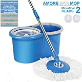#7: Amore Mop Bucket Magic Spin Mop Bucket Double Drive Hand Pressure With Free Microfiber Mop Head Household Floor Cleaning Pocha(Color May Vary)