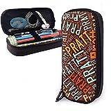 Pratt - Nom de famille américain haute capacité en cuir étui à crayons crayon stylo papeterie titulaire organisateur école maquillage stylo Portable sac cosmétique