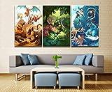 ksjdjok Wohnkultur Modulare Leinwand Bild Pokemon Spiel Kunst Malerei Poster Wand Für Zuhause Leinwand Malerei 40X60 cm 3 Stücke Rahmenlose