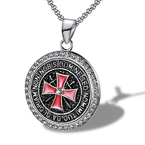 aa6c1ba4cbb9 Collar colgante Templario de Acero con Circón de la Cruz Roja Non Nobis con  Cadena – Steel Templar Pendant Necklace with Zircon of the Red Cross Non  Nobis ...