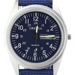 Orkina Mens Royal Blue Dial Quartz Date Day Nylon Fabric Band Wrist Watch P108CA-SBLU