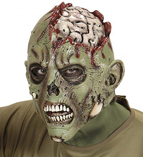 shoperama Gruselige Latexmaske Zombie mit freiliegendem Gehirn Halloween Horror Maske