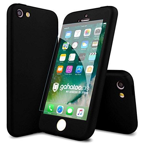 CASYLT [kompatibel für iPhone 5 / iPhone 5s / iPhone SE] Hülle 360 Grad Fullbody Case [inkl. 2X Panzerglas] Premium Komplettschutz Handyhülle Schwarz