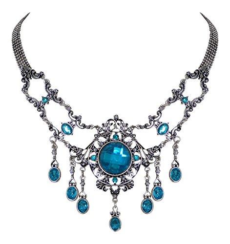 Edles Trachtenschmuck Dirndl Collier - Antikschmuck Replikat - Trachtenkette Kristall oder Perle...