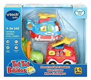 VTech- TutTut Bólidos Pack 3 Coches. Bombero, Tractor, helicóptero, Color (3480-242122)