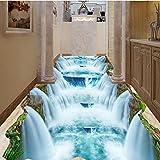Weaeo Cliff Valley Wasserfall Badezimmer Toilette Wohnzimmer 3D Bodenbelag Pvc Wasserdicht Selbstklebende Wandbild Boden Tapete Wandverkleidung-200X140Cm