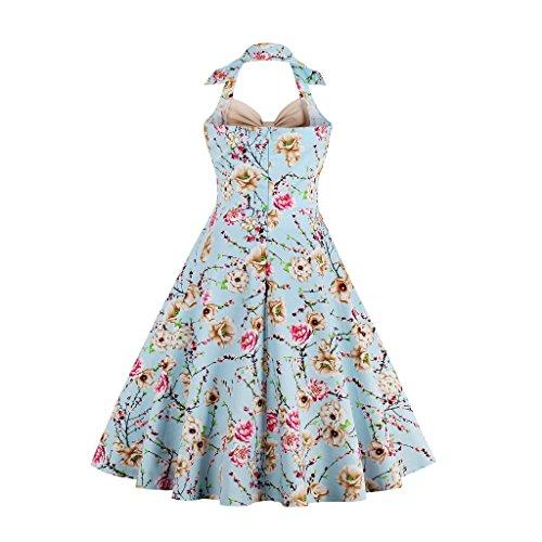 Babyonline® Damen Halter Vintage Retro Kleider Abendekleider Hell Blau