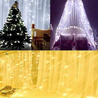 KOBWA Luces de Cortina, 300 Luces de Cadena de Hadas del LED con 8 Modos de Control Remoto para la Cortina de la Ventana, Patio de Césped, Boda, Decoración del Partido