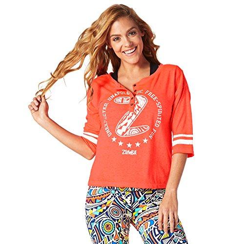 Zumba Fitness Damen Beach Baller Baseball Tee Frauentops, Coral Craze, XL