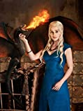 Daenerys Targaryen Khaleesi Dothraki Mother of Dragons Dany Daenerys Stormborn Breaker of Chains Fancy Dress Costume Game of Thrones Blue Ladies Dragon Halloween Outfit UK Sizes (M Size)