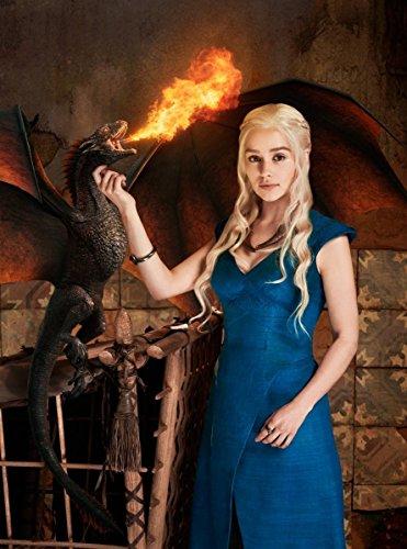 Daenerys Targaryen Khaleesi Dothraki Mother of Dragons Dany Daenerys Stormborn Breaker of Chains Fancy Dress Costume Game of Thrones Blue Ladies Dragon Halloween Outfit UK Sizes (S Size) (Perücke Für Dragon Lady Erwachsene)