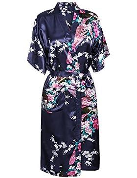 Donna Vestaglie Lunga Scollo a V Kimono da Notte in Raso Con Cintura, Pavone Esotici, Raso Fiore Pigiama Camicia...
