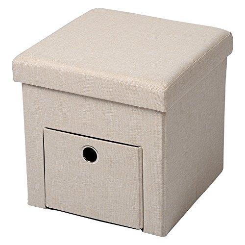 Woltu sh07cm-1 sgabello sedia a cubo pouf pieghevole cassapanca poggiapiedi contenitore con cassetto mdf stoffa lino beige