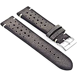 DASSARI Speedster Italian Distressed Leather Perforated Rally Watch Strap in Grey 20mm