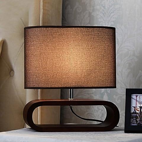 Inicio Monopoly Lámpara de mesa Lampholders de madera maciza Dormitorio Dormitorio luz condensador Lampshade -E27 * 1 titular de la lámpara ( Color : Marrón )