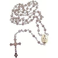Plateado metálico decorativa filigrana rosario Milagroso y sagrado corazón centro Católica