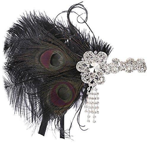 BABEYOND 1920s Feder Stirnband 20er Jahre Stil Art Deco Flapper Haarband Great Gatsby Stirnband Damen Kostüm Accessoires (20er Jahre Kostüme)