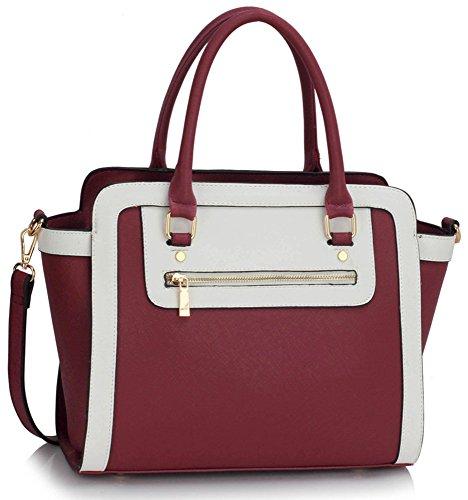 LeahWard Damen Zweifarbige Shaped schönes Elegante Handtaschen Tote Taschen Burgundy/Weiß
