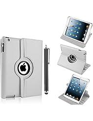 Nouveau design blanc en PU imitation cuir avec support rotatif à 360° Etui folio Housse pour iPad Pro 12.9