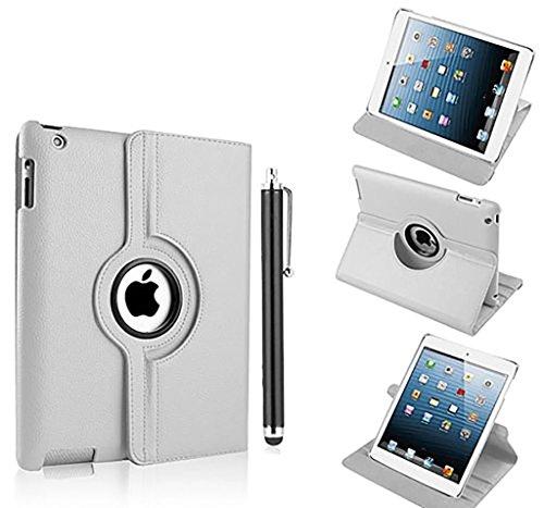 Nouveau design blanc en PU imitation cuir avec support rotatif à 360° Etui folio Housse pour iPad 4