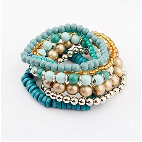 Andonger Multilayers Colorful lusso Perle acrilico braccialetto elastico economici monili unici per la ragazza, 100775 (A)