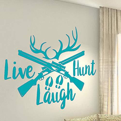 guijiumai Adesivo da Parete in Vinile Live Hunt Laugh Hunter Deer Hobby Living Art Art Interior Decoration Stickers F 3 42X51CM