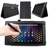 DURAGADGET Etui aspect cuir noir + stand de maintien arrière pour Archos 101 NEON tablette tactile 10,1 pouces Android 4.2 3G / WiFi (PAS COMPATIBLE avec version 101B / 101C / 101D ni modèles Titanium, Platinium, Xenon et Cobalt) + stylet noir forme crayon bonus