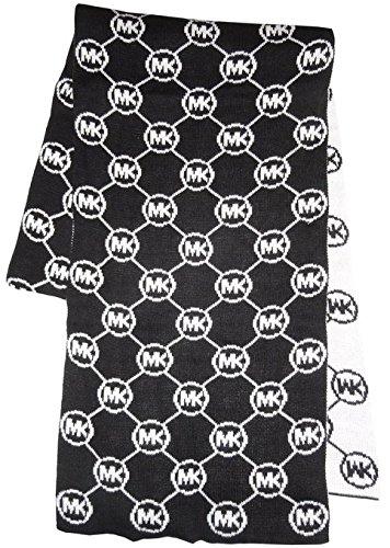 Michael Kors Women's Winter Scarf Monogram Black and Cream