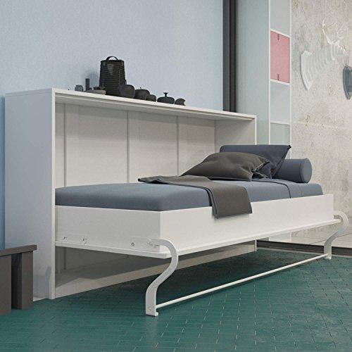 SMARTBett Schrankbett 90x200 cm Horizontal Weiß Schrankklappbett & Wandbett, ideal als Gästebett - Wandbett, Schrank mit integriertem Klappbett, Sideboard