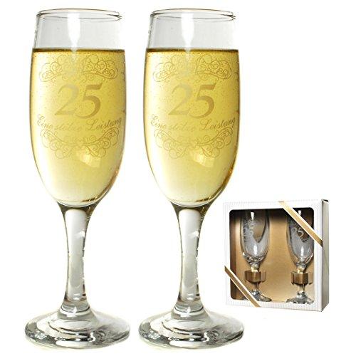 Sektglas-Set 25 zum Geburtstag oder zur silberhochzeit Artikel 67476