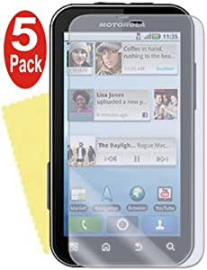 Screen Protectors & Cleaning Cloths (Pack of 5) for Motorola Defy MB525
