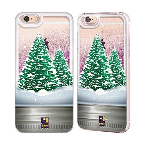 Head Case Designs Nikolaus Weihnachten Im Einweckglas Purpur Handyhülle mit flussigem Glitter für Apple iPhone 6 / 6s Baum
