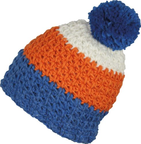 Ultrapower RED HOT Aswan Wollmütze | Innen-Stirnband | Wintermütze | Häkelmütze | Bommelmütze | Unikate | Handarbeit, Farbe:Blau -