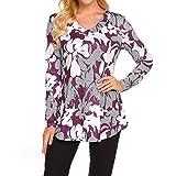 VEMOW Heißer Sommer Damen Mädchen Frauen Blumendruck Halbe Hülse Tägliche Beiläufige Partei Arbeit T-Shirt Unregelmäßige Tops Bluse Pullover Pulli(X1-Violett, EU-44/CN-L)