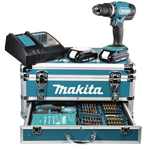 Makita BHP453RYX2 Akku-Schlagbohrschrauber im Alu-Koffer 18 V-Li/1,5 Ah mit Profi- Zubehör-Sortiment 96-tlg.