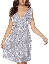 dafb92696ed1 Rostiumise Women s Sexy Deep V Neck Sleeveless Glitter Sequined Dress Party  Wedding Bridesmaids Evening Cocktail Dresses