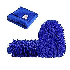 Idea Regalo - Tougo 2 Pezzi di Guanti e Panno di Lavaggio per Auto Panno da Pulizia in Microfibra Impermeabile e Auto Wash Mitt in Pelo, Corallo Ciniglia