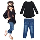 Iuhan Toddler Baby Kids Girls Outfit Clothes Long Sleeve T-Shirt Tops+Jeans Pants 1Set (3-4 Years, Black)