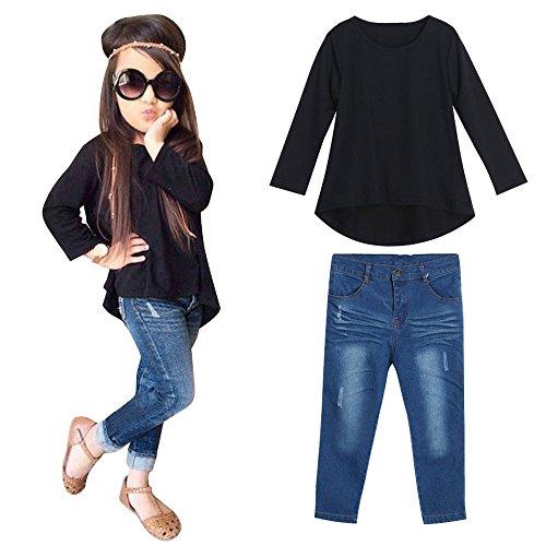 Theshy 1 Satz Kinderkleidung Kleidung Set Baby Kapuzenpullover Mantel Outfits Hoodie Tops Hose Langarm Shirt Bekleidung Jungen MäDchen Kinder T-Shirt Hosen Kleinkind Outfit + Jeans