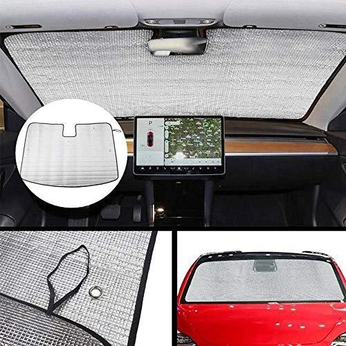 Mirage Windschutzscheibe Sonnenschutz for Tesla Model 3, faltbar UV Ray Reflektor Auto-vorderes Fenster-Farbton-Masken-Schild-Abdeckung, hält Fahrzeug Kühler