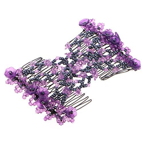 Kalttoy Doppel Mode Haar Kamm Magie Perlen Elastizität Clip Stretchy Haar Kämme Clips (Lila)