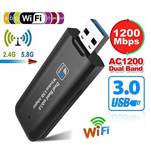 Hefeibiaoduanjia 1200 Mbps USB 3.0 Wireless WiFi Netzwerk Receiver Adapter 2,4 GHz/5 GHz Dual Band Wireless USB Adapter Multi