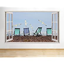 C939gabbiani uccello Beach Seaside finestra decalcomania da parete adesivi 3D Art Vinyl Room